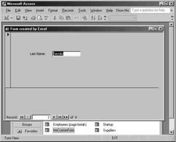 Opening a Microsoft Access Form - Excel 2002 VBA XML ASP