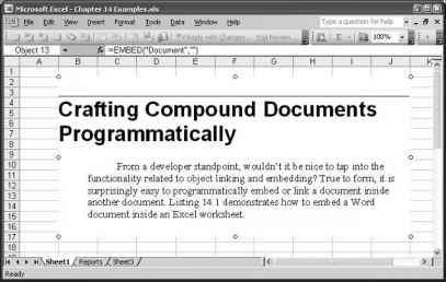 Crafting Compound Documents Programmatically - Excel 2003 VBA