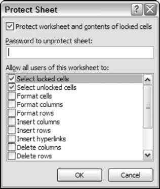 Making the application bulletproof excel 2007 vba figure 6 5 using the protect sheet dialog box to specify what users can and cannot do ibookread PDF
